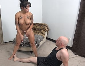 When Dante shows up for his wrestling lesson he certainly wasn't expecting a ripped female bodybuilder like Bobbi. She shows of her tight abs, big biceps, sexy tattoos, and the rest of her naked body - as well as her scissoring and other wrestling moves. When she grabs his cock and starts stroking, Dante doesn't stand a chance!