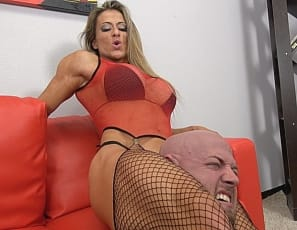 Maria G is so easy on the eyes - her big biceps, hard abs, powerful pecs, and killer quads all complimented by her pretty face - it's easy to forget how tough she can be on the guys who upset her. She certain gives Dante all he can handle.